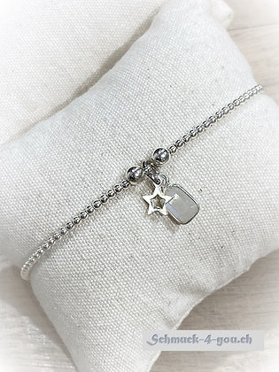 ArubaS Armband – Silberkugeli mit Silberstern- und Mondsteinanhänger