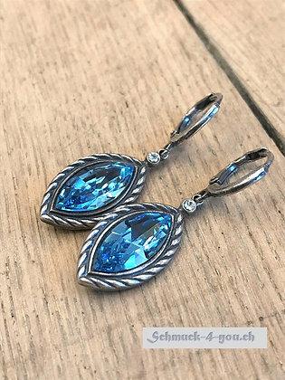 Ohrhänger Swarovski-Marquise aquamarine