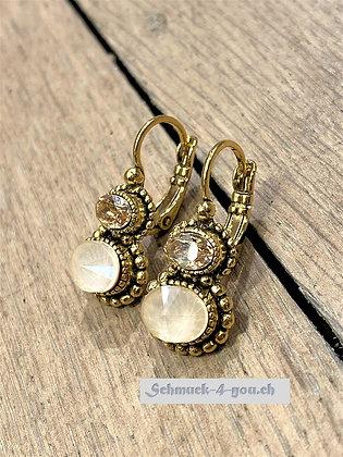 Ohrhänger mit zwei Kristallen, vergoldet, diverse Farben