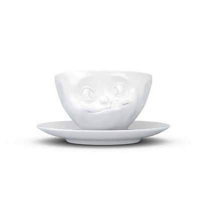 Kaffee-Tasse mit Unterteller - lecker - weiss