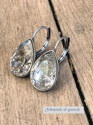 Ohrhänger Swarovski-Pear silver shade