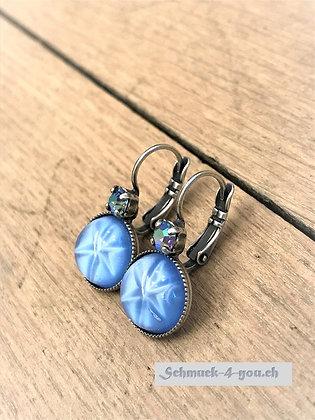 Ohrhänger blaustern mit Swarovski hellblau