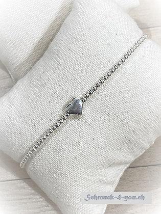 arubaS Armband – Silberkugeln mit Silberherz