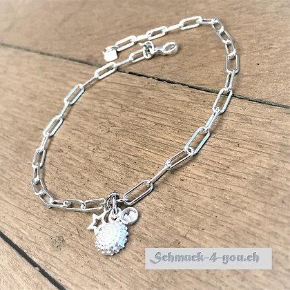 Fussketteli Silber mit Muschel-, Herz- und Zirkoniaanhänger