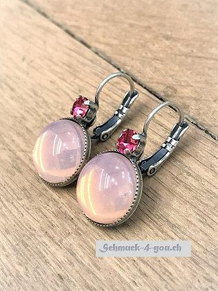 Ohrhänger rosa mit Swarovski rot