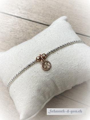 arubaS - Armband Silber Rosegold mit Glücksblattanhänger