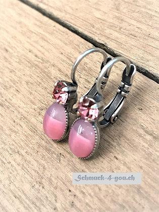 Ohrhänger pink mit Swarovski pink