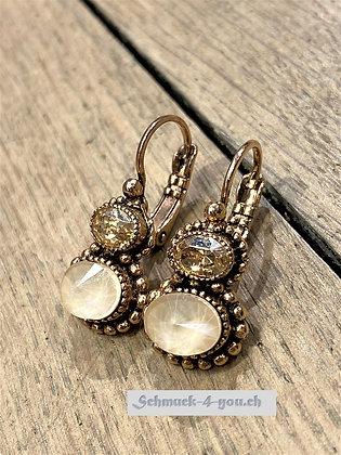 Ohrhänger mit zwei Kristallen, rosevergoldet, diverse Farben
