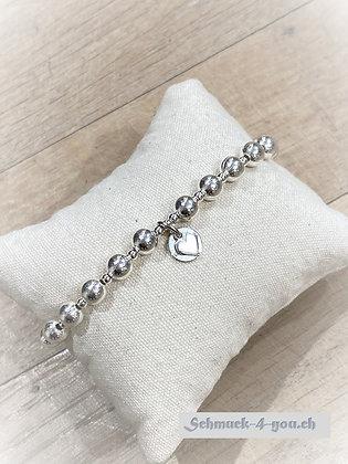 arubaS Armband – Silberkugeli gross mit Silberherz