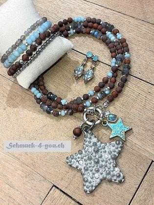 arubas - Halskette mit Jaspis matt, Amazonit und Labradorit