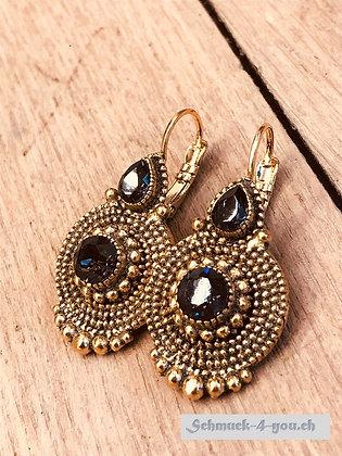 Ohrhänger mit zwei Swarovski Kristallen, vergoldet, diverse Farben