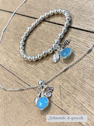 arubaS - Silberhalskette mit Silber- und Blauquarzanhänger
