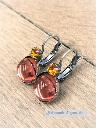 Ohrhänger orange mit Swarovski orange
