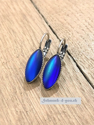 Ohrhänger oval blau