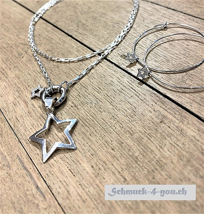 ArubaS Silberkette mit Stern mit Zirkonia