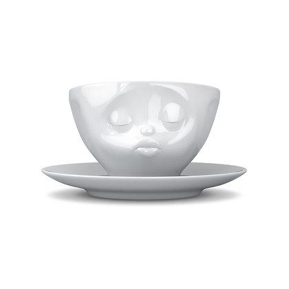 Kaffee-Tasse mit Unterteller - küssend - weiss