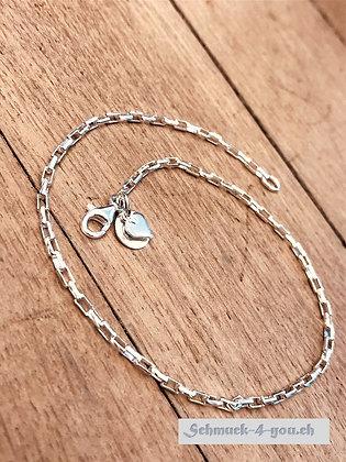 Fussketteli Silber Glieder mit Struktur, Silber 925