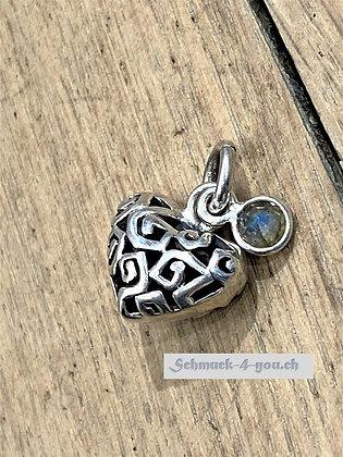 Anhänger Silber Herz mit kleinem Anhänger-Labaradorit