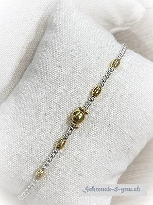 arubaS - Armband Silberkugeli mit vergoldeten Zwischenteilen