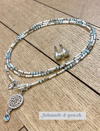 arubaS - Halskette mit Mondstein, Süsswasserperlen, Hämatit und Kristallen