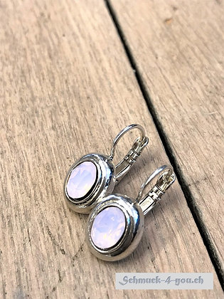 Ohrhänger oval mittel, versilbert, diverse Farben