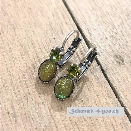 Ohrhänger olive mit Swarovski
