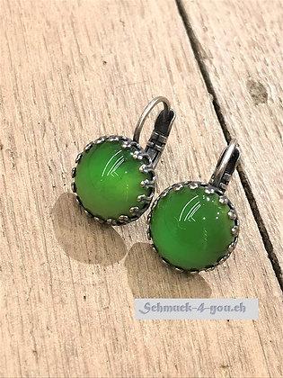 Ohrhänger rund grün