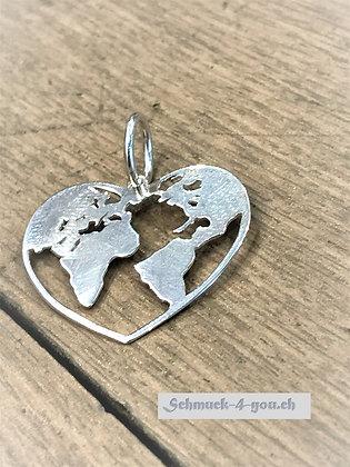 Welt-Herzanhänger silber