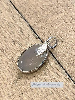 Mondstein grau mit kleiner Silberfeder