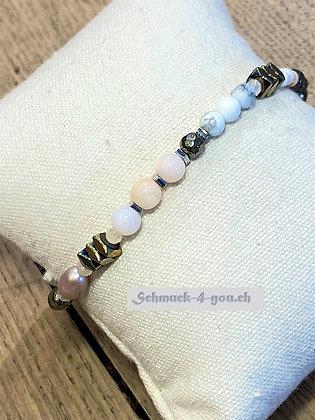 arubaS - Armband mit Pink Opal, Süsswasserperlen, Magnesit, Muscheln und Hämatit