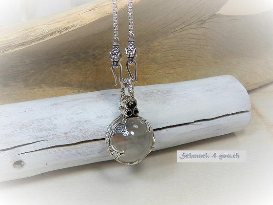 Anhänger Wikinger – Bergkristall Kugel mit Silberfassung 925, div. Grössen