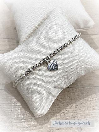 ArubaS Armband – Silberkugeln mit Herzanhänger
