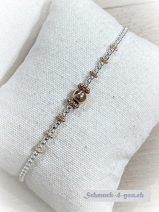 arubaS - Armband Silberkugeli mit rosevergoldeten Zwischenteilen