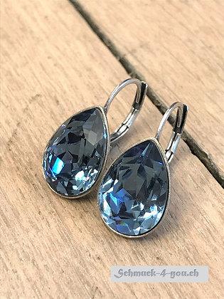 Ohrhänger Swarovski-Pear blue denim