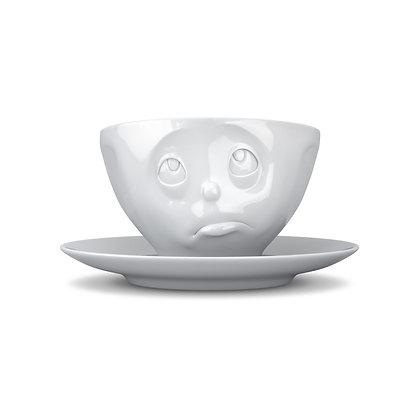 Kaffee-Tasse mit Unterteller - och bitte - weiss