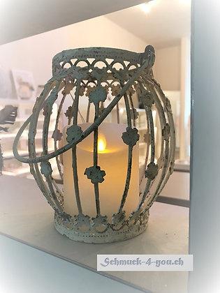 Laterne mit Blumen Dekor – Antique creme - 16cm
