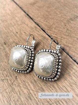 Ohrhänger Quadrat gross mit Perle