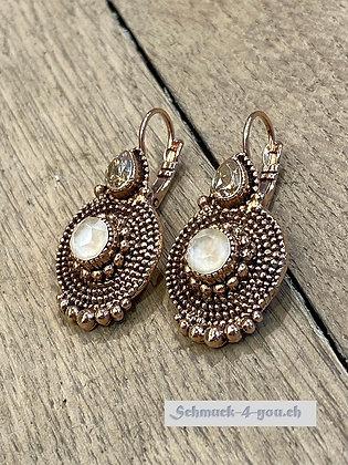 Ohrhänger mit zwei Swarovski Kristallen, rosevergoldet