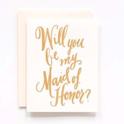 LH Calligraphy Will You Be My Maid of Honor Gold Foil Card