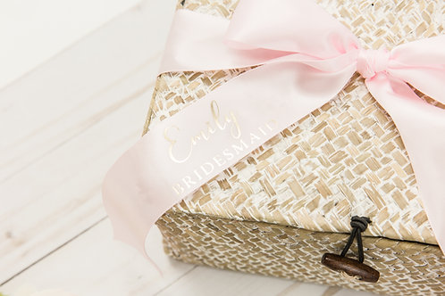 White Wash Seagrass Storage Box with Personalized Ribbon