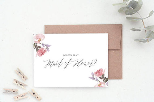Floral Bridesmaid Proposal Card
