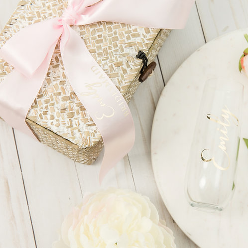 Personalized Stemless Champagne Flute Seagrass Basket with Personalized Ribbon