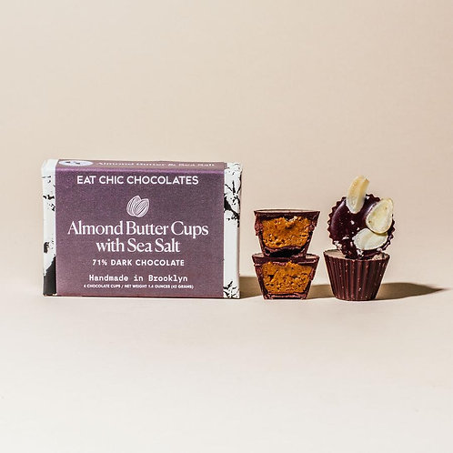 Dark Chocolate Almond Butter Cups with Sea Salt