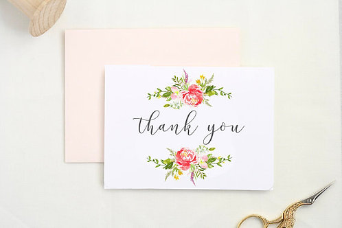 Coral Floral Thank You Card