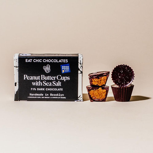Dark Chocolate Peanut Butter Cups with Maldon Sea Salt