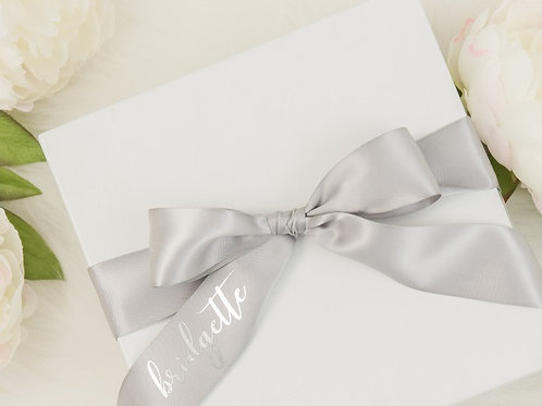White Gift Box with Personalized Ribbon