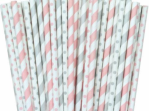 Pink & Grey Straws