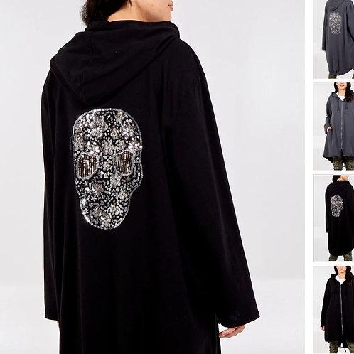 Sequin Skull Zip Through Long Hooded Jacket