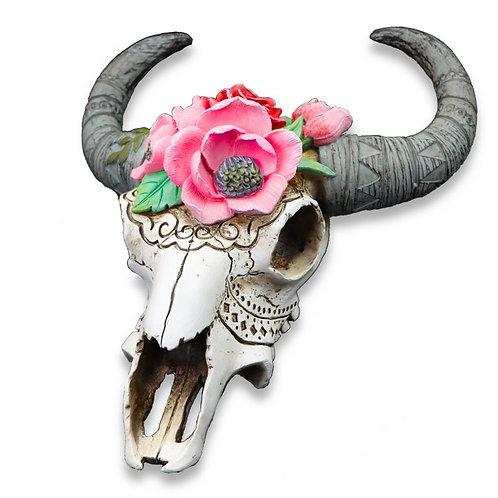 South of Santa Fe 'Frida' Bull Skull