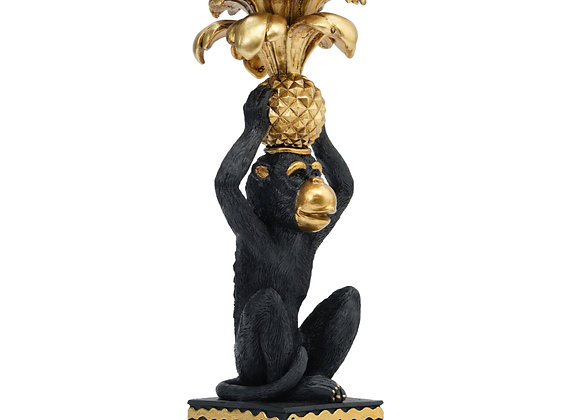 Black & Gold Monkey Palm Candlestick Holder